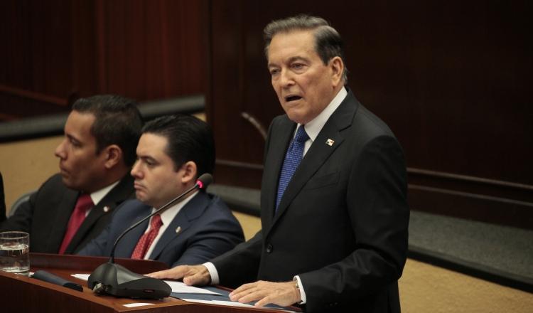 El mandatario Laurentino Cortizo inició su discurso, con un informe de la situación en que encontró Panamá, al asumir el cargo. Foto: Víctor Arosemena