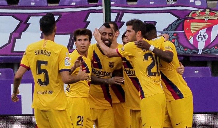 Jugadores del Barcelona Foto:EFE