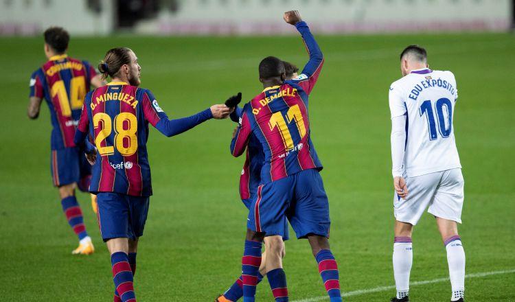 Jugadores del Barcelona. Foto:EFE