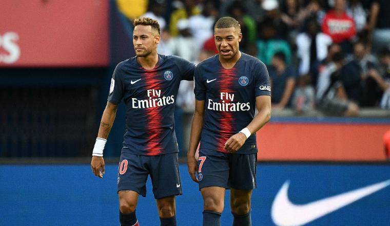 Neymar y Mbappé del PSG Foto:EFE