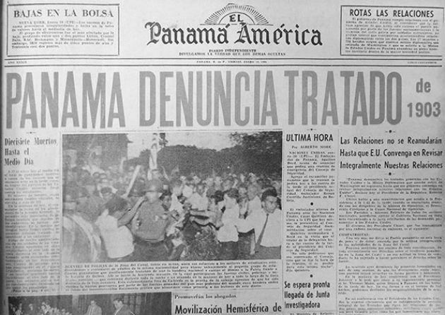 En la tarde del jueves 9 de Enero de 1964, estudiantes del Instituto Nacional Escuela fueron reprimidos por la Policía Zoneíta, que destruyó el pabellón nacional.