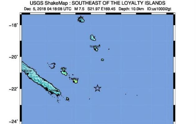 Imagen cedida por el Servicio Geológico de los Estados Unidos (USGS), de un USGS Shake Map que muestra la ubicación del terremoto de magnitud 7.5 que azotó la costa este de Nueva Caledonia. EFE