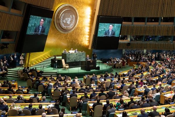 El presidente de Brasil Jair Bolsonaro, criticó duramente a Cuba y Venezuela durante su discurso ante la ONU. FOTO/AP