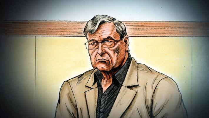 Ilustración artística realizada por Paul Tyquin del cadenal australiano George Pell, en el Tribunal del estado de Victoria en Melbourne (Australia). FOTO/EFE