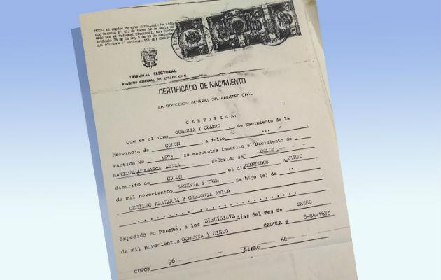 Certificado de nacimiento de Martiza Alabarca.