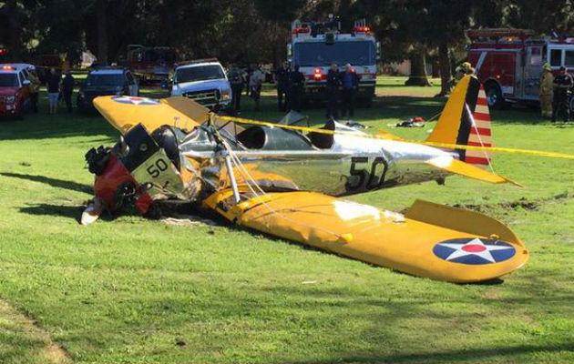 Herido de gravedad Harrison Ford tras estrellarse la avioneta que pilotaba