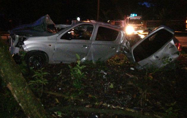 El exceso de velocidad pudo haber ocasionado el accidente de tránsito en Chiriquí. Foto: José Vásquez.