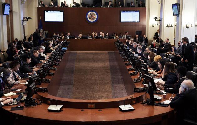 Vista  de la reunión extraordinaria del Consejo Permanente de la OEA sobre Bolivia, en Washington. Foto: EFE.