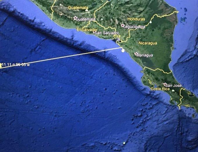 La anomalía fue divisada a 600 millas de la costa pacífica de Centroamérica.