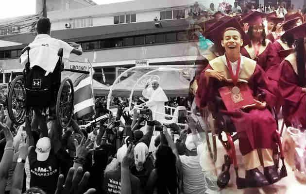 Lucas después de la foto viral de la JMJ Panamá 2019. Foto/ Carlos Yap / Ilustración Panamá América