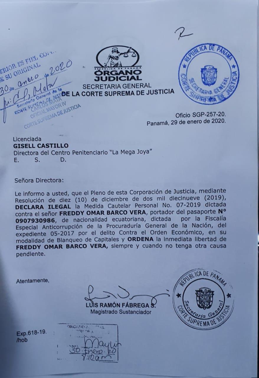 Orden de liberación del ecuatoriano, firmada por el presidente de la Corte. Foto de Luis Avila