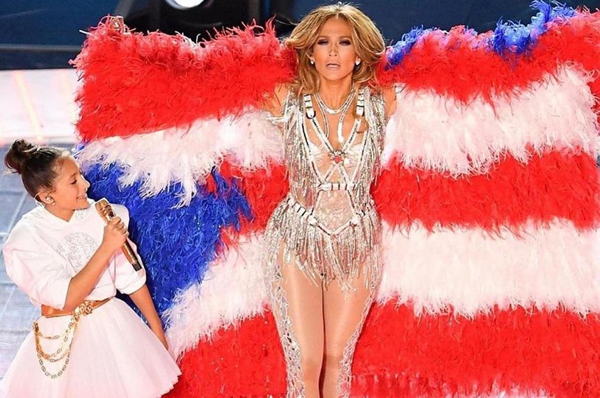 Jennifer Lopez en el Super Bowl. Foto: Instagram