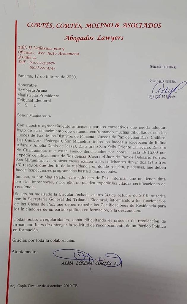 Alma Cortés remitió una carta al Tribunal Electoral