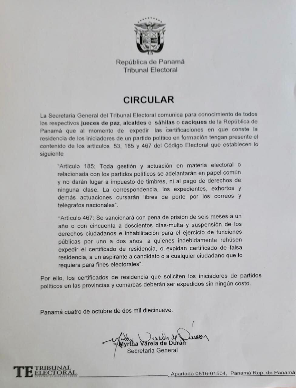 Hay una circular del Tribunal Electoral que establece las sanciones.