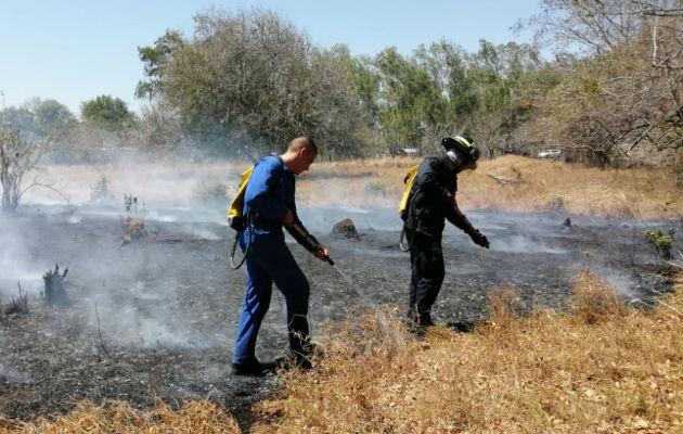 Tras la caída de los postes, se dio un incendio de masa vegetal en el área. Foto: Thays Domínguez.
