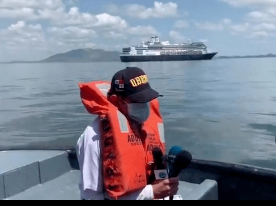 El crucero está anclado en el sector de Amador