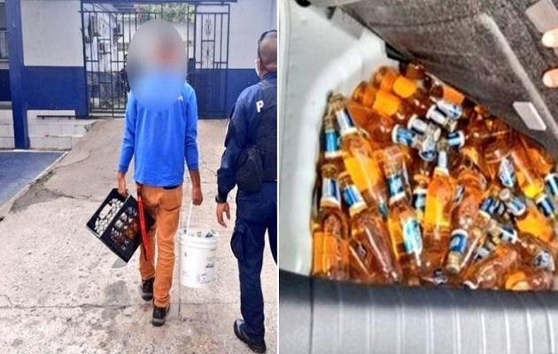 Tres personas que transportaban 5 cajas de cerveza en Pedregal intentaron burlar a la policía con un salvoconducto falso. Foto: Policía Nacional.