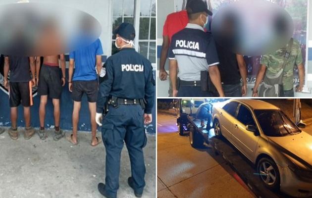 Los retenidos deberán pagar una multa de $50.00; si no los pueden saldar deberán realizar trabajo comunitario. Foto: Policía Nacional.