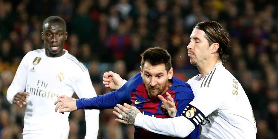 Messi y Sergio Ramos en u  partido de  Barcelona y Real Mafdrid. Foto:EFE