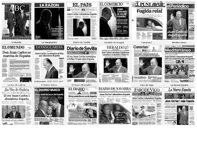 Portadas del martes 4 de agosto de los principales diarios, que destacan la decisión del rey emérito Juan Carlos I, de vivir fuera de España,. en medio de informaciones sobre sus presuntos negocios ocultos en Suiza. Foto: EFE.