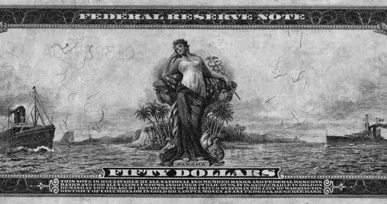 Un billete de $50 de Estados Unidos de 1914. Al dorso, un pulcro cuadro del istmo con Lady Panama como principal actriz. Es la única ocasión en la historia que un país extranjero es relucido en un billete norteamericano.