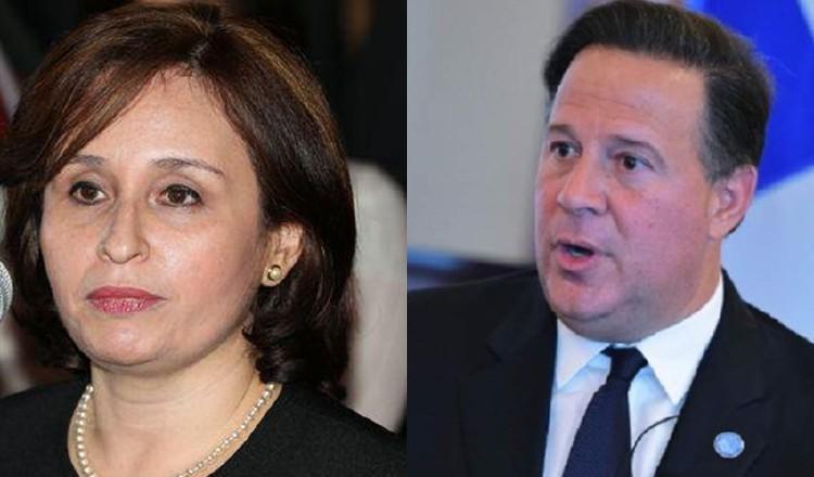 Exprocuradora general de la Nación, Kenia Porcell y el expresidente Juan Carlos Varela.
