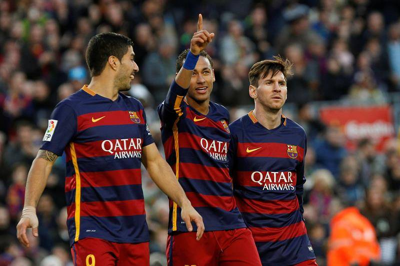 Suárez, Neymar y Messi. Foto:EFE