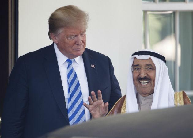 Imagen archivo de un encuentro del fallecido emir de Kuwait con el presidente Trump en la Casa Blanca en septiembre de 2020. Fotos: EFE.
