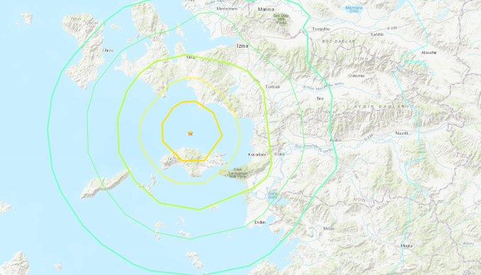 El epicentro del movimiento telúrico se encuentra en el mar Egeo, a unos 17 kilómetros del distrito de Seferihisar, en la ciudad turca Esmirna. FOTO/EFE