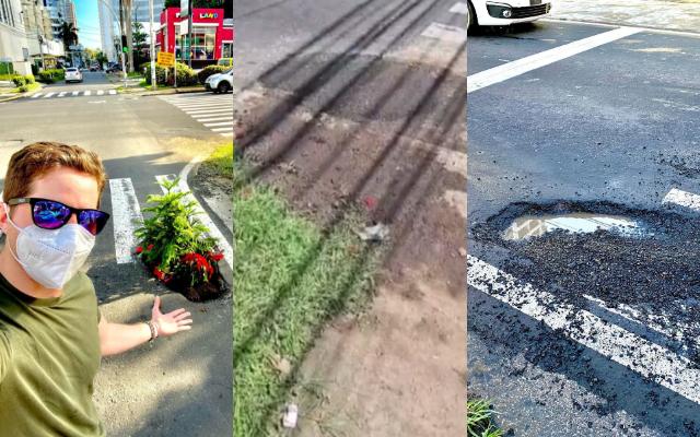 Antes y después del bache. Foto: Instagram