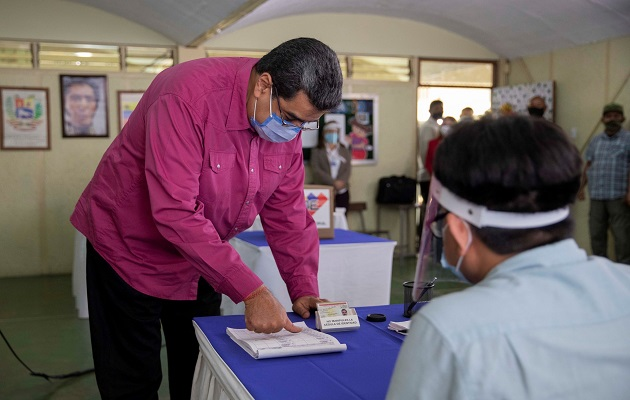 Nicolás Maduro durante las elecciones del fin de semana.
