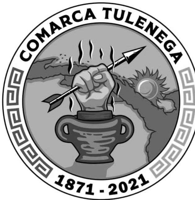 Logo alusivo a los 150 años de la creación de la Comarca Tulenega (Hogar de los Gunas). Foto: Cortesía.