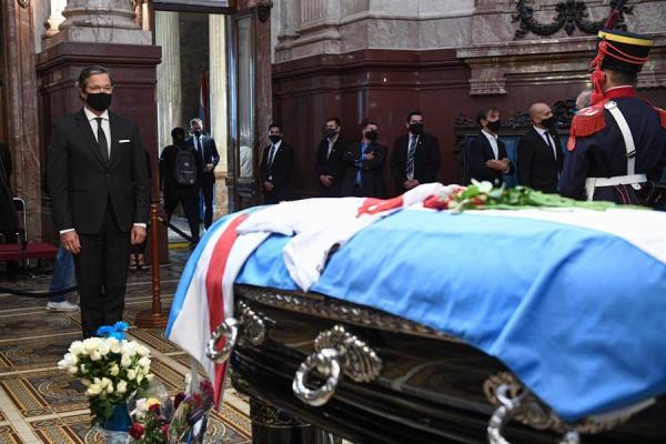 Velorio del expresidente de la República Carlos Saúl Menem, en el Salón Azul del Congreso de la Nación, en Buenos Aires .