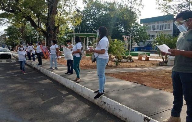Protestaron en el Parque Libertador de La Chorrera.
