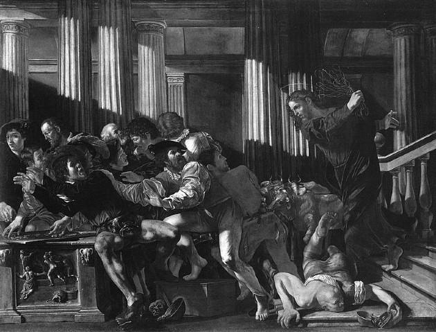 Cristo expulsando a los mercaderes del Templo, pintura de Cecco del Caravaggio. Jesús, exclama a viva voz: