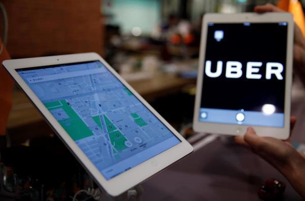 Aplicación de Uber funcionando en una tableta.