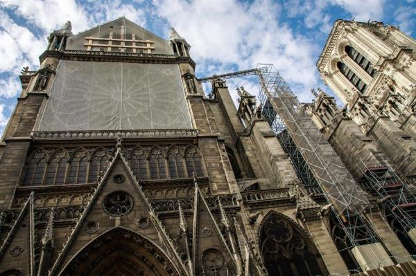 Obras que se realizan en la catedral de Notre Dame.