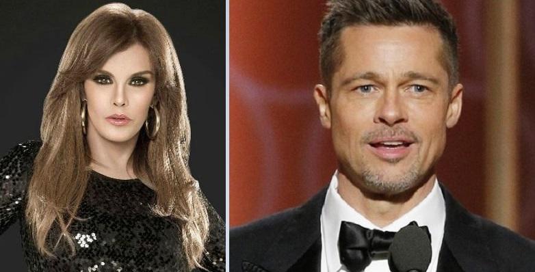 Lucía Méndez y Brad Pitt. Archivo
