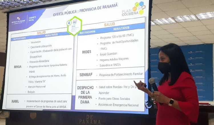 La secretaria técnica del Gabinete Social explica el programa. Foto: Víctor Arosemena