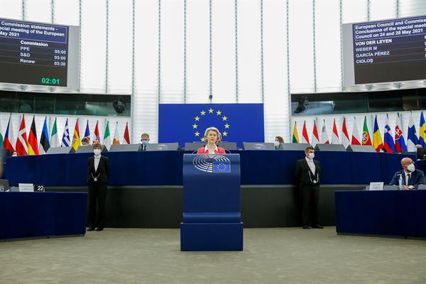 La presidenta de la Comisión Europea, Ursula von der Leyen, este miércoles en Estrasburgo. Foto:EFE