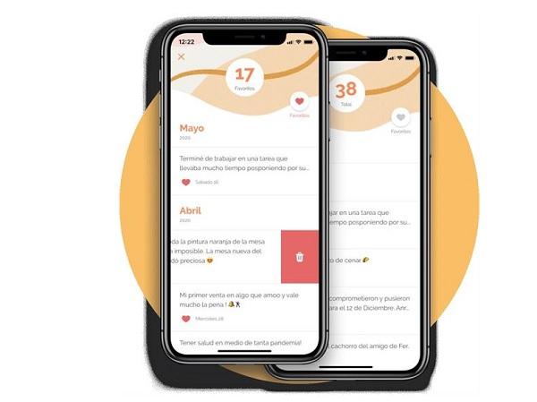Sección de favoritos de su aplicación Yana, diseñada para ayudar