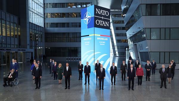 Jefes de Estado o de Gobierno que participan este lunes en la cumbre de la OTAN en Bruselas. EFE