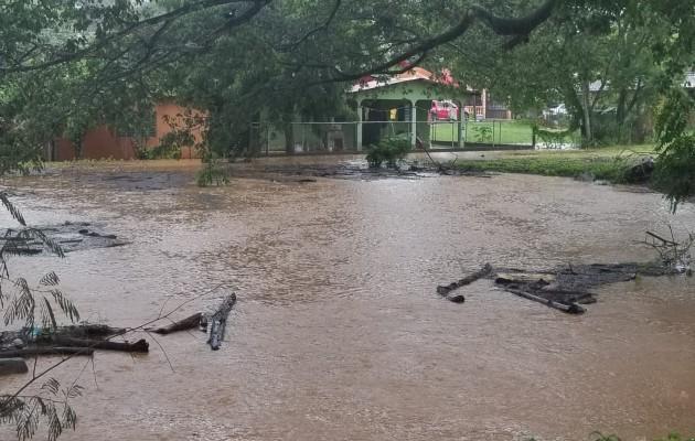 El agua creció e inundó los patios de algunas residencias cercanas a drenajes pluviales. Foto: Thays Domínguez