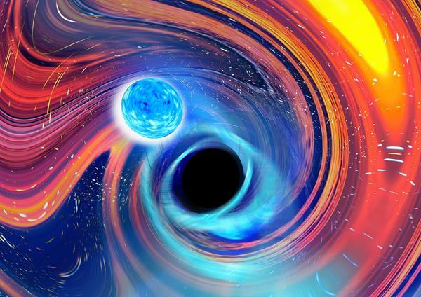 Representación artística inspirada en la fusión entre un agujero negro y una estrella de neutrones. Foto: EFE