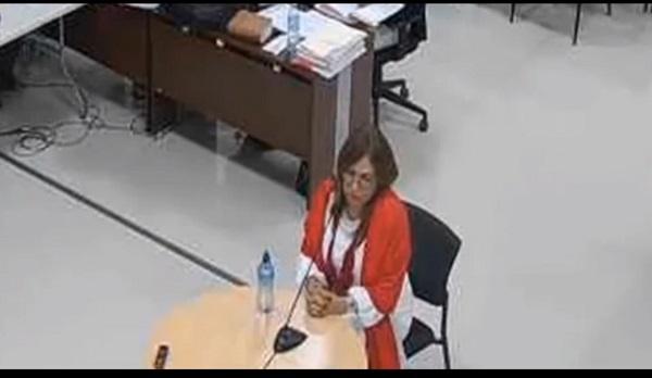 Balbina Herrera durante e interrogatorio en el juicio pasado. Foto: Captura de pantalla