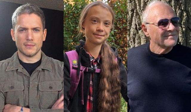 Wentworth Miller, Greta Thunberg y Anthony Hopkins. Fotos: Instagram