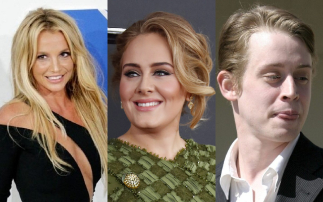 Britney Spears, Adele y Macaulay Culkin. Fotos: Archivo / EFE