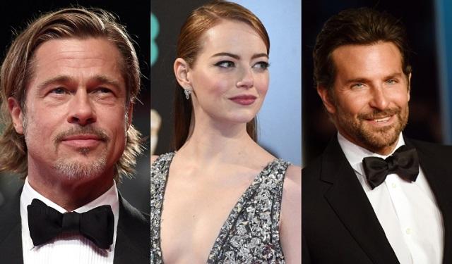 Brad Pitt, Emma Stone y  Bradley Cooper, se niegan a formar parte de las redes sociales. Fotos: Archivo / EFE