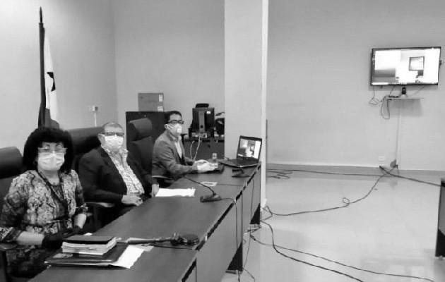 Audiencia virtual realizada desde la sede de Plaza Ágora en abril del año 2020. Foto: Órgano Judicial de Panamá.
