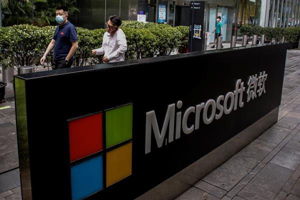 Fotografía de archivo del logo de la compañía Microsoft. EFE